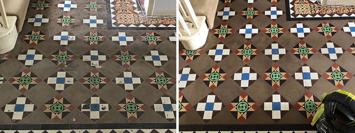Geometric-Victorian-Tiled-Hallway-Before-After-Cleaning-Sedbergh
