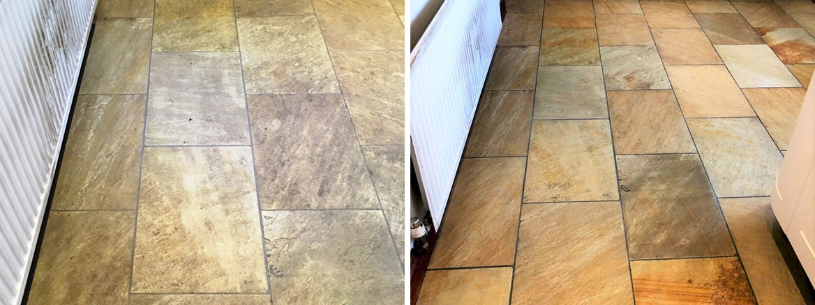 Indian-Sandstone-Kitchen-Floor-Before-After-Cleaning-Grange-Over-Sands