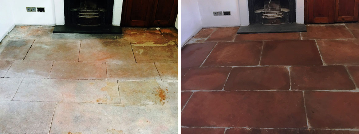 Red-Sandstone-Floor-before-after-cleaning-in-Kirby-Lonsdale