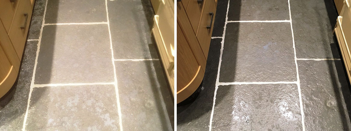 Stone Effect Pre-Cast Concrete Kitchen Flooring Deep Cleaned in Arnside