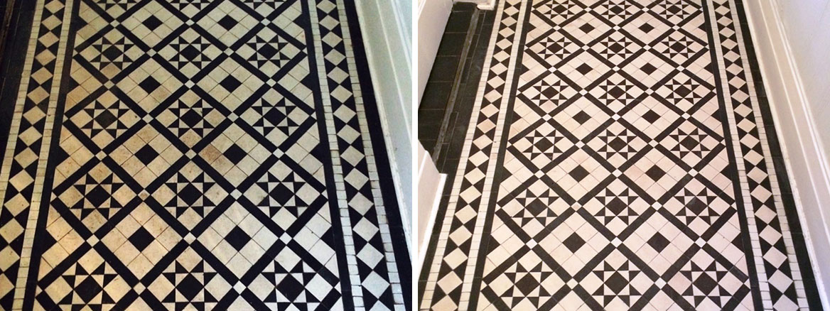 Victorian Black and White Tiles Cleaned and Sealed in Windermere