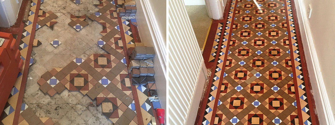 Original Victorian Hallway with Loose Tiles Restored in Kendal