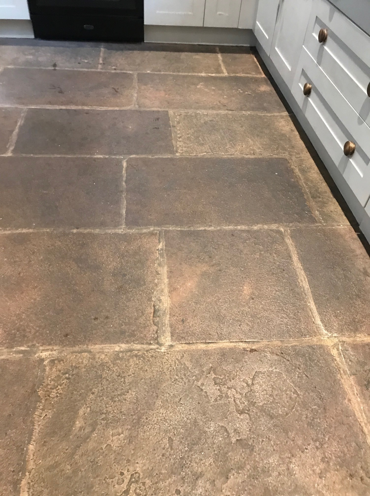 Red Sandstone Floor Before Renovation Kirkby Lonsdale