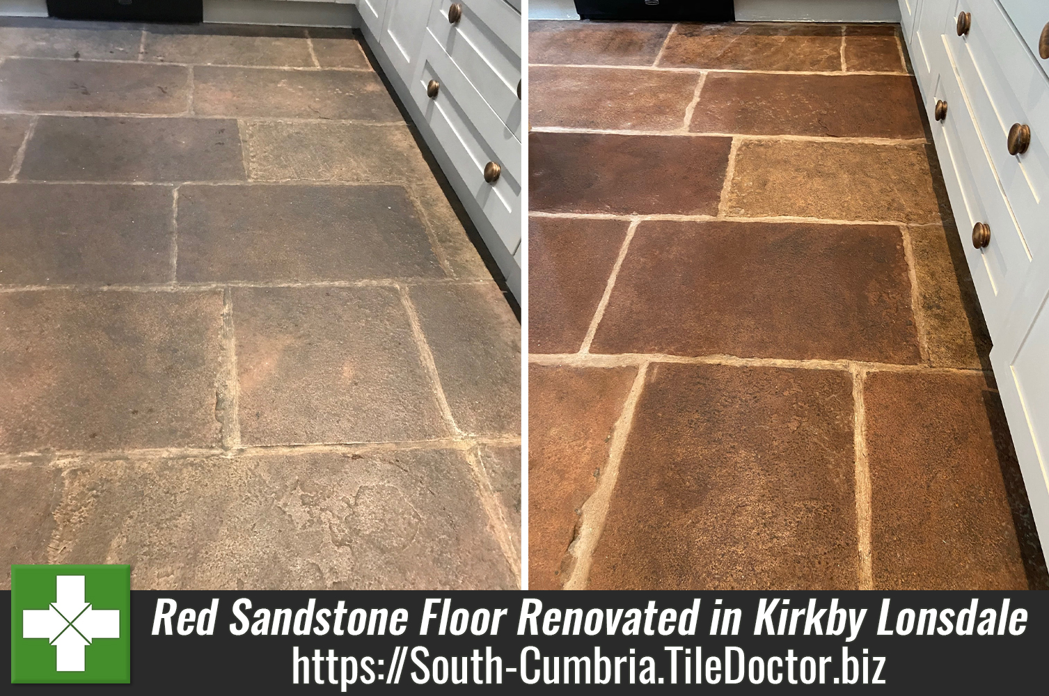 Red Sandstone Kitchen Flagstones Renovated in Kirkby Lonsdale