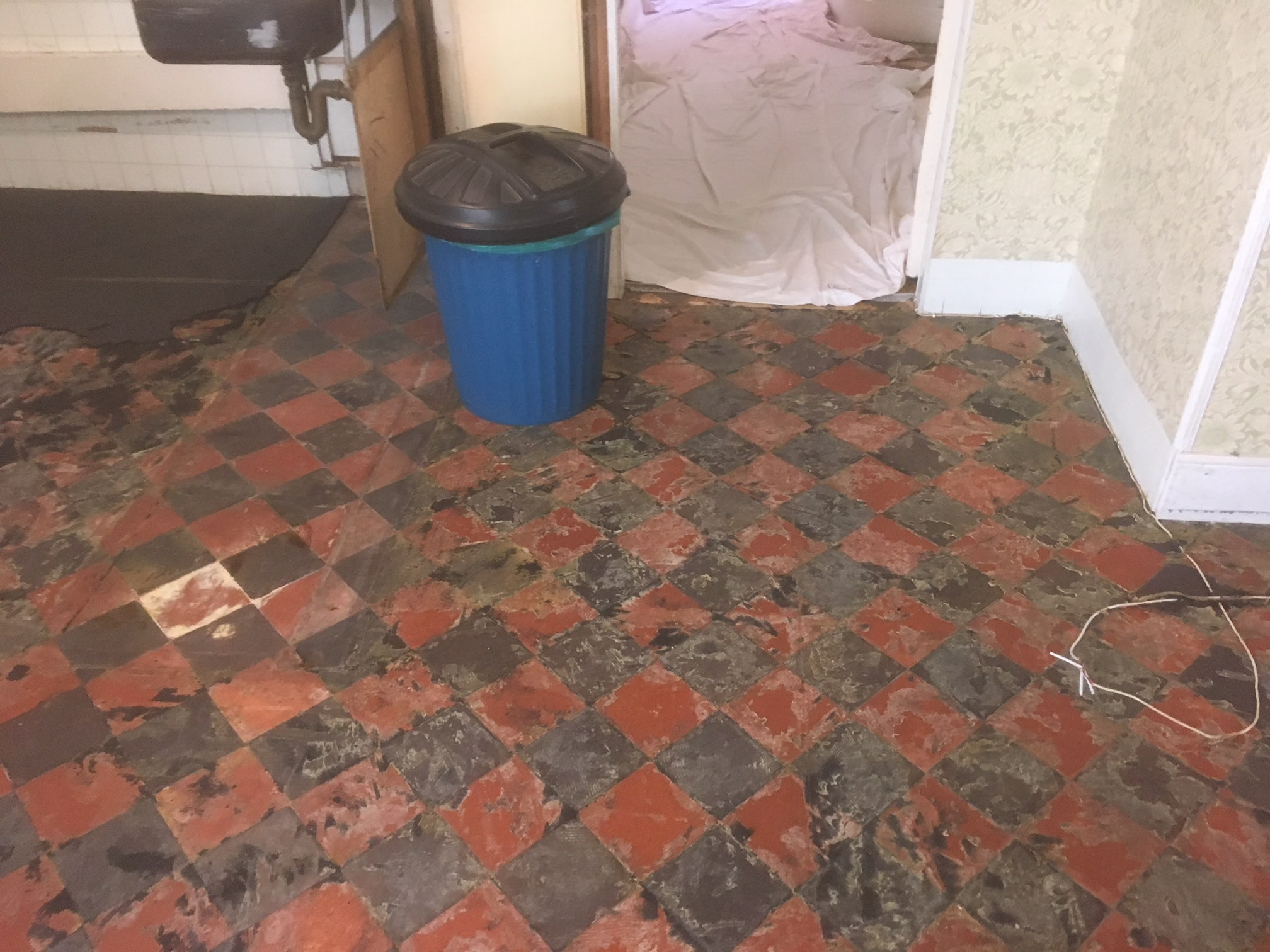 Classic Red Black Victorian Period Floor During Restoration Beetham