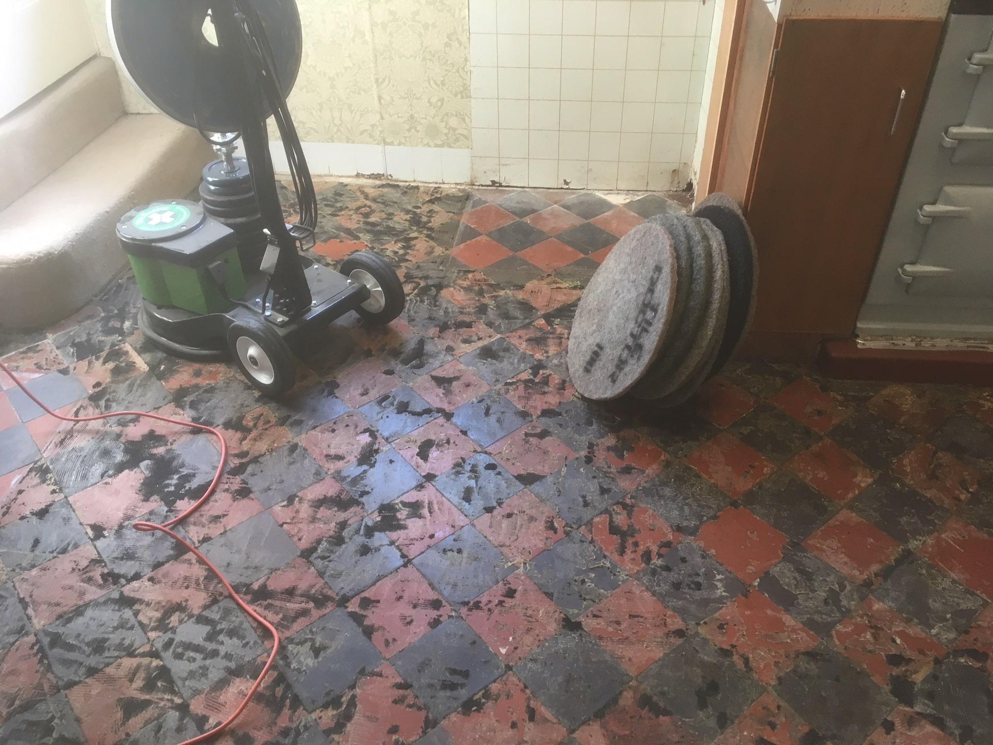 Classic Red Black Victorian Period Floor During Restoration Beetham