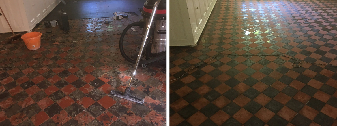 Restoring a Carpet Covered Victorian Tiled Floor in Beetham
