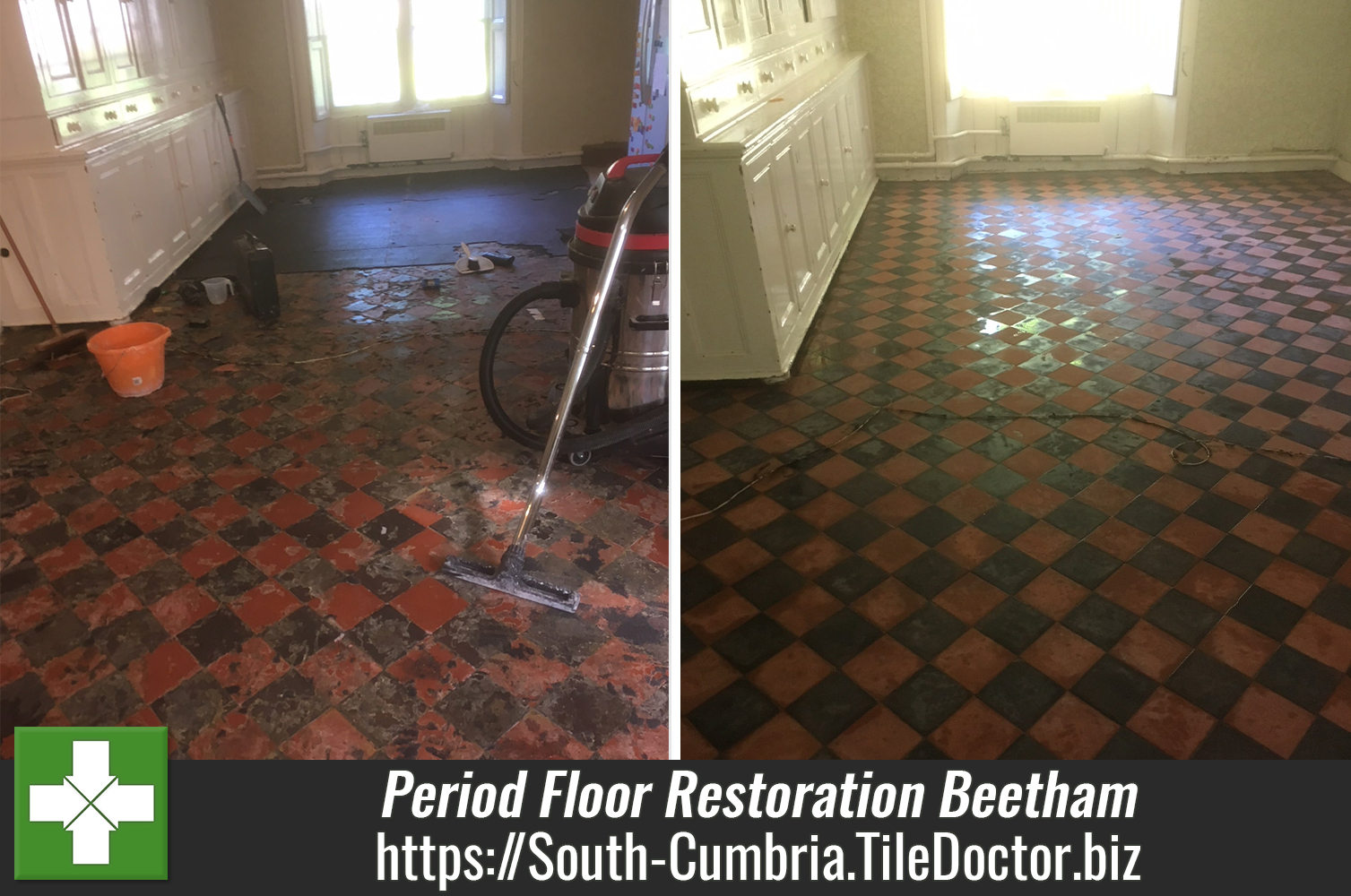 Red and Black Victorian Tiled Period Floor Restored in Beetham